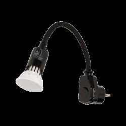 Lampa wtyczkowa z żarówką LED, 6W, GU10, 250V czar