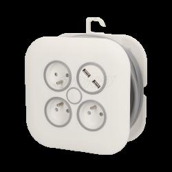 Przedłużacz zwijany 3x2P+Z, USBx2 płaska wtyczka7m