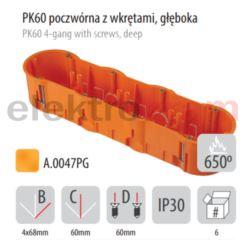 PAWBOL puszka PK60 poczwórna do płyt gips głęboka