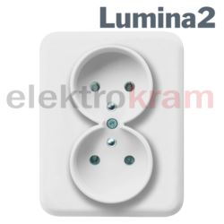 Gniazdo podwój 230V/16A kompl lumina2 ( biały )