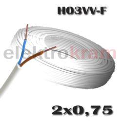 Przewód okrągły H03VV-F OMY 2x0,75 300V biały