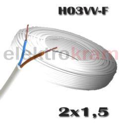 Przewód okrągły H03VV-F OMY 2x1,5 300V biały