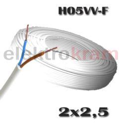 OWY przewód okrągły H05VV-F 500V 2x2,5 biały 100mb