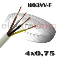 Przewód okrągły H03VV-F OMY 4x0,75 300V biały