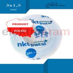 Przewód instalacyjny YDYp żo 3x1,5 750V 100mb NKT